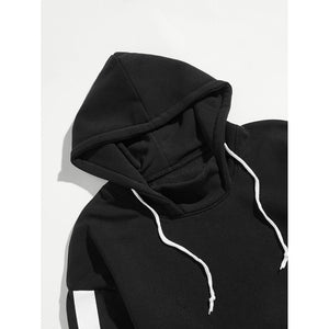 Men Stripe Side Hoodie Pocket Sweatshirt