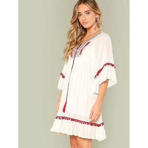Tassel Tie Embroidered Yoke Pom Pom Detail Dress