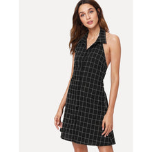 Knot Open Back Checked Dress