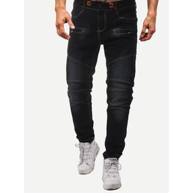 Men Zip Decoration Drawstring Jeans