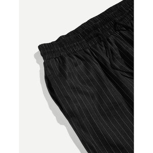 Men Drawstring Waist Striped Pants