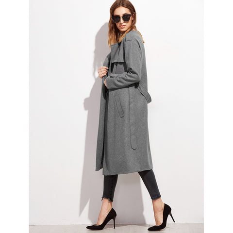 Heather Grey Collarless Wrap Coat With Gun Flap