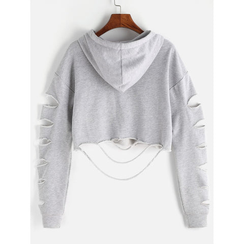 Drop Shoulder Ladder Cutout Sleeve Crop Hoodie