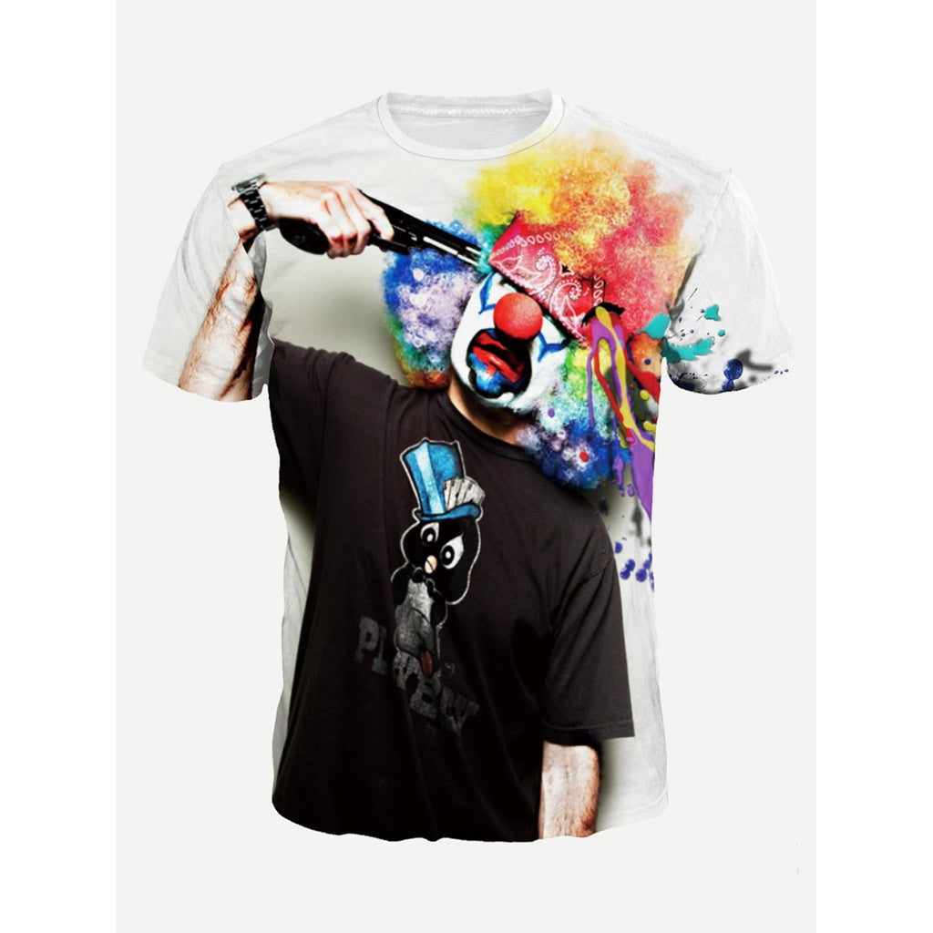 Men Clown Print Tee
