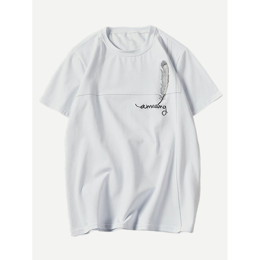 Men Letter Embroidery Feather Print Tee