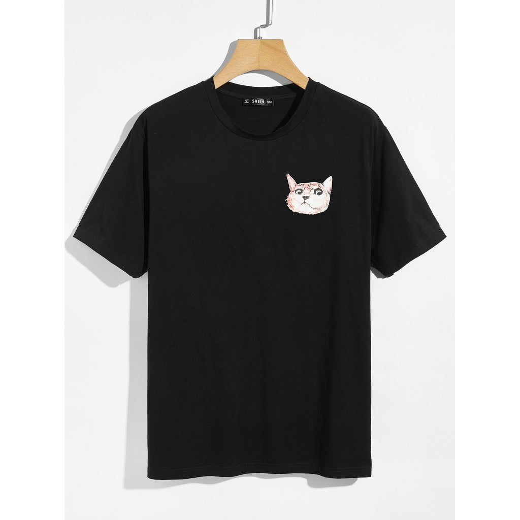 Men Cat Print T-shirt