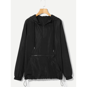 Men Zip Front Hoodie Drawstring Hem Jacket