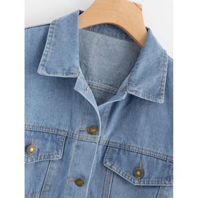 Patch Back Fray Hem Denim Jacket