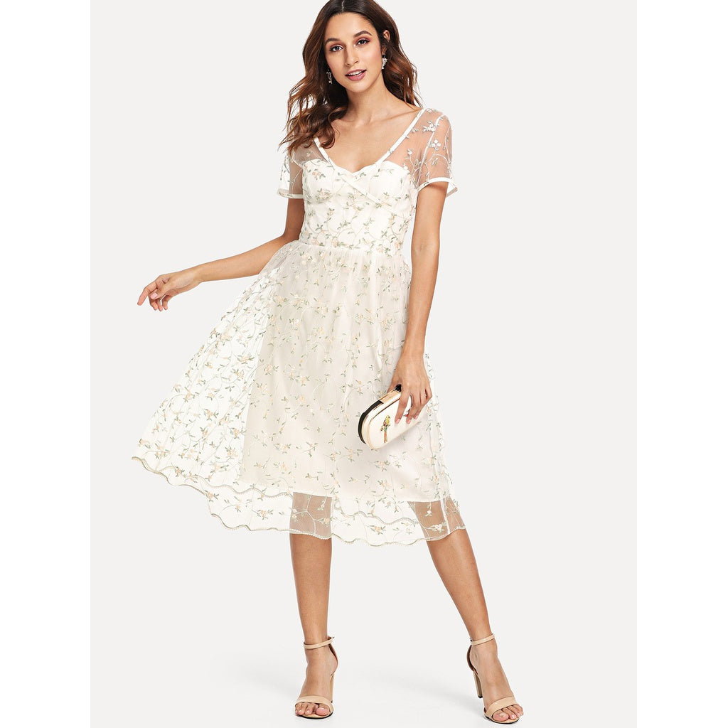 Sheer Mesh Floral Embroidered Dress