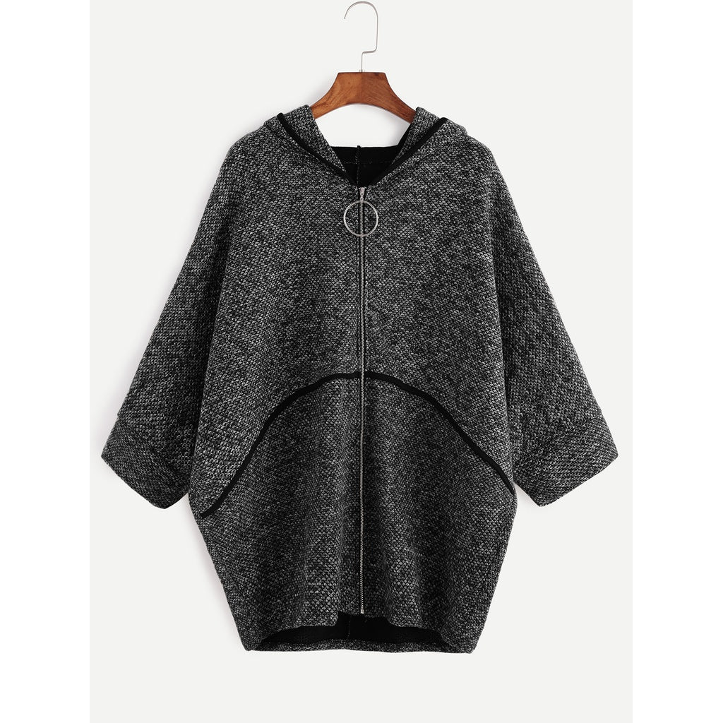 Dark Grey Batwing Sleeve Zipper Up Hooded Coat