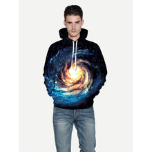 Men Abstract Galaxy Print Hooded Sweatshirt