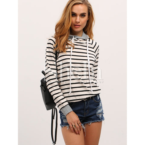 Striped Drawstring Hooded Zipper Sweatshirt