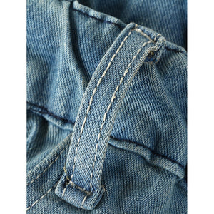 Men Washed Drawstring Jeans