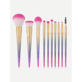 Glitter Handle Makeup Brush 10pcs