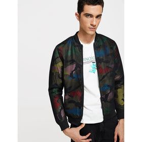 Men Cut Out Camouflage Jacket