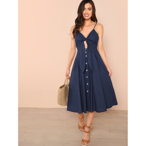 Knot Front Button Up Cami Dress