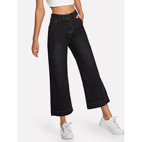 Solid Belt Wide Leg Jeans