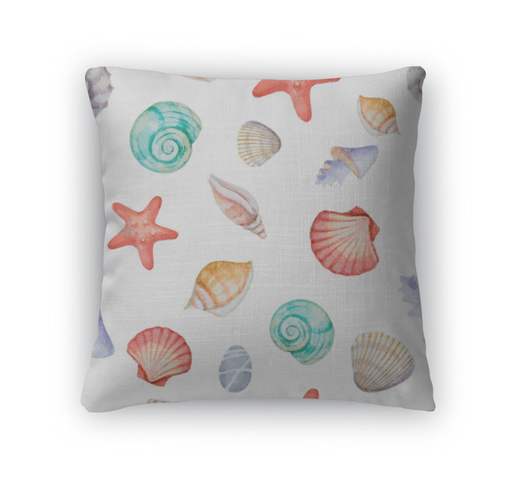 Throw Pillow, Watercolor Pattern With Sea Shells