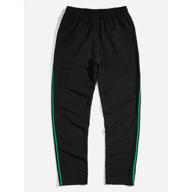 Men Striped Side Drawstring Waist Pants