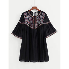 Tassel Tie Back Embroidery Dress
