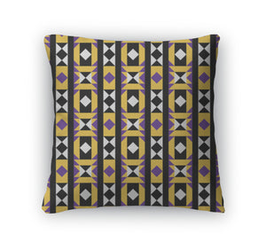 Throw Pillow, Purple And Yellow Native Pattern