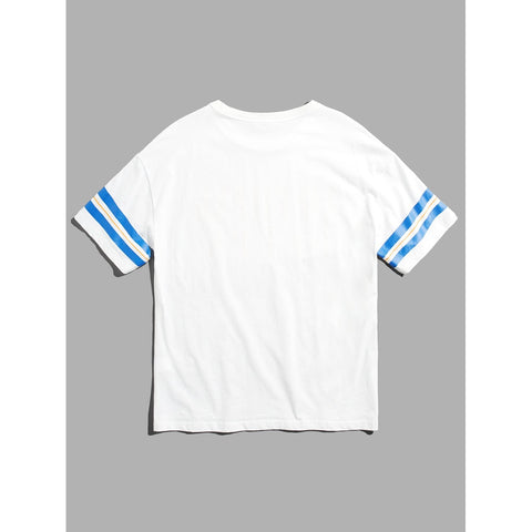 Men Letter & Striped Tunic Tee