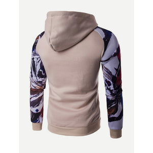 Men Abstract Floral Print Hooded Sweatshirt