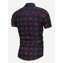 Men Plaid Curved Hem Blouse
