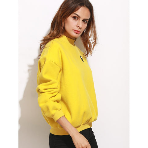 Mock Neck Drop Shoulder Embroidered Sweatshirt