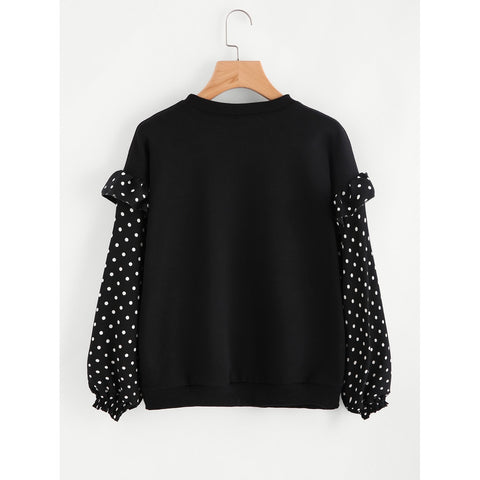 Frill Trim Dotted Sleeve Sweatshirt