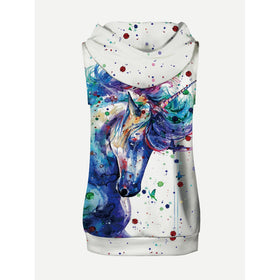 Men Unicorn Painting Hooded Sweatshirt