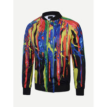 Men Paint Drip Print Jacket