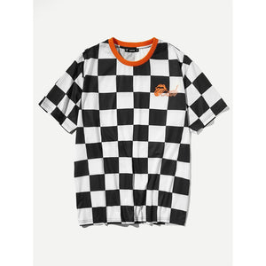 Men Gingham Print Ringer Tee