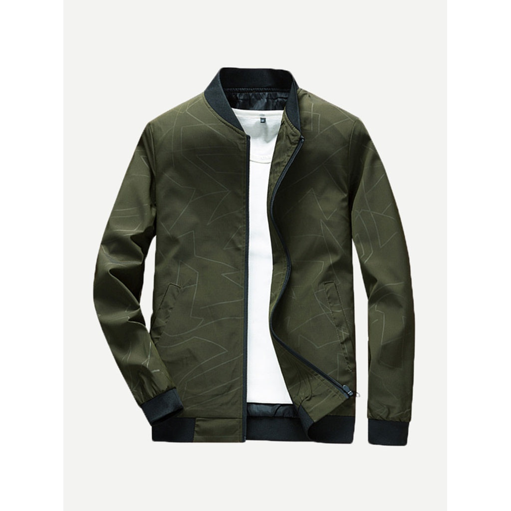 Men Abstract Plain Jacket