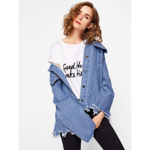 Frayed Trim Ripped Bleach Wash Denim Jacket