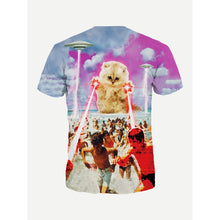 Men Cat And Figure Print Tee