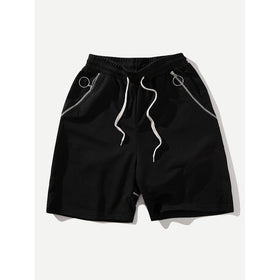Men Zip Decoration Drawstring Shorts