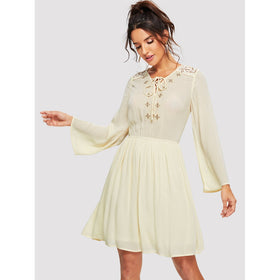 Tie Neck Lace Trim Embroidered Dress