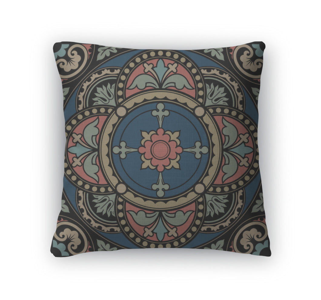 Throw Pillow, Stained Glass Decorative Round Lace Circle Ornament