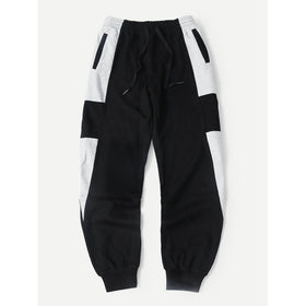 Men Cut And Sew Panel Drawstring Pants