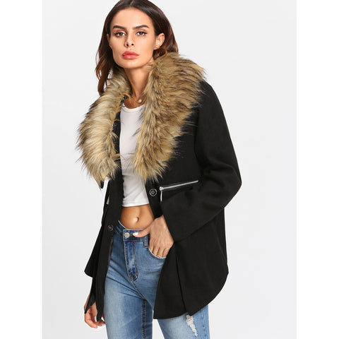 Faux Fur Trim Zip Detail Coat