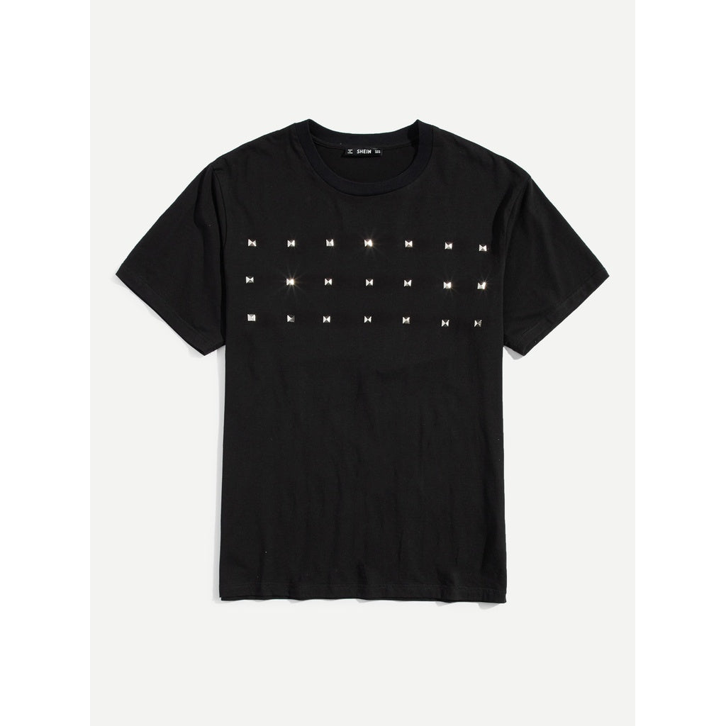 Men Studded Short Sleeve T-shirt