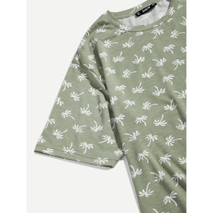 Men Tropical Print Tunic Tee
