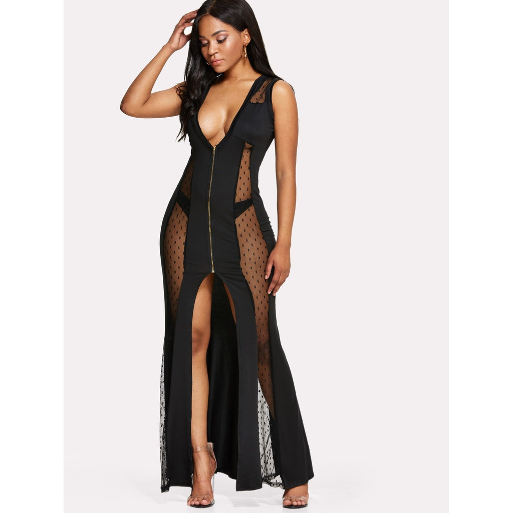 Mesh Insert Split Longline Dress
