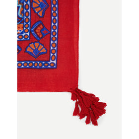 Tribal Print Scarf With Tassel