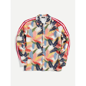 Men Tropical Print Striped Side Single Breasted Jacket