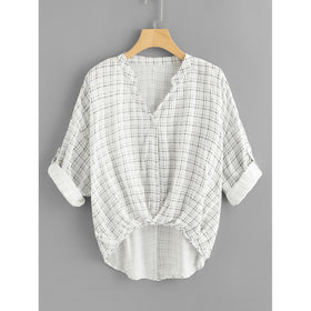 Rolled Up Sleeve Grid Dip Hem Blouse