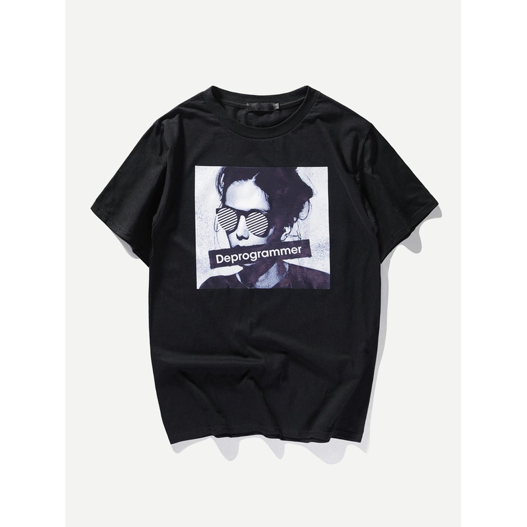 Men Letter And Figure Print Tee