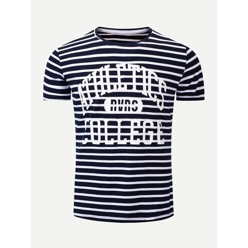 Men Letter Print Striped T-shirt