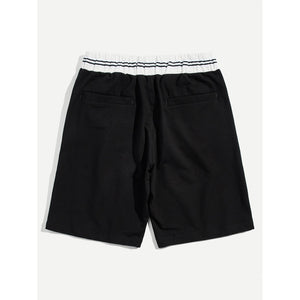 Men Drawstring Waist Pocket Shorts